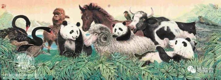 ▲ 国画《熊猫来了》100*244cm