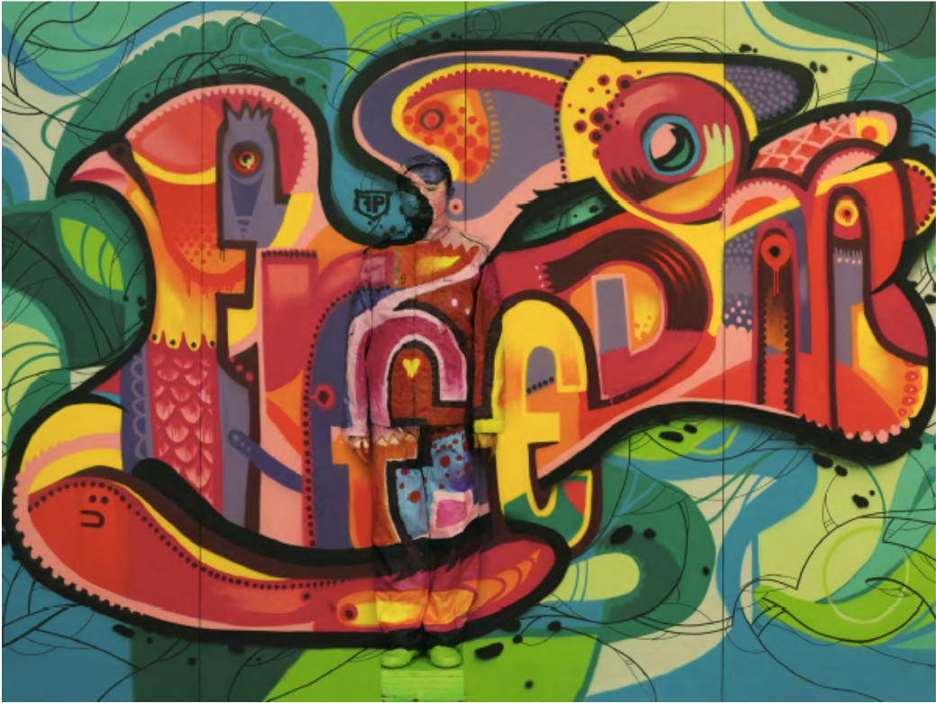 Hidding in the City - Paris n°11, Graffiti Freedom  -2013 © Liu Bolin, Courtesy of Paris-Beijing Gallery