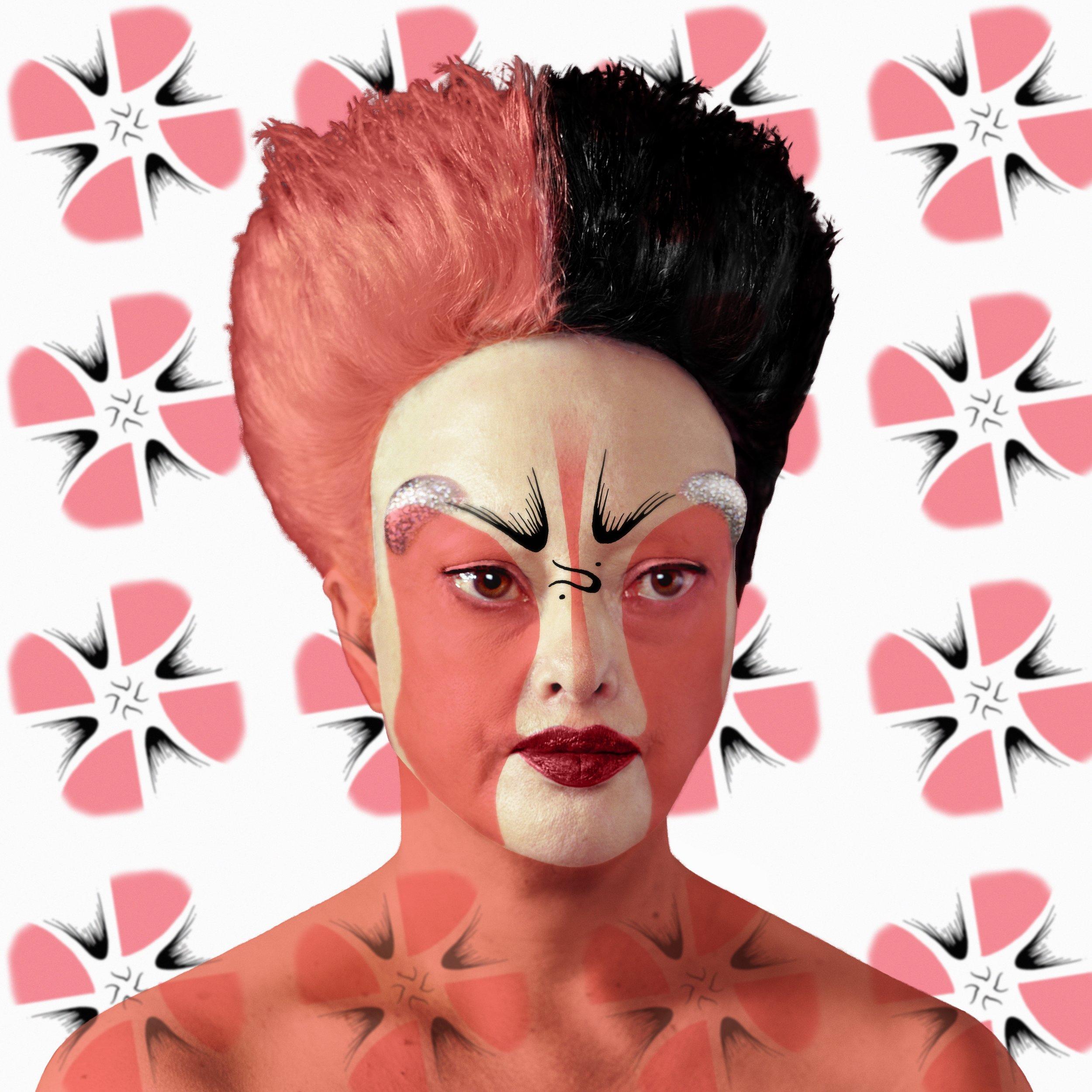 Beijing opera mask self-hybridation, facing design n°5 - 2014 © Orlan, Courtesy of Michel Rein gallery