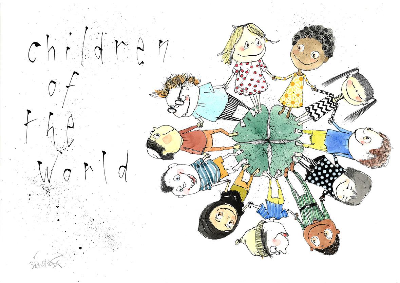 Children og the world, tryk til salg, kr. 350, midlertidig udsolgt