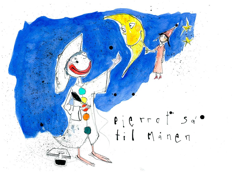 Pjerrot sae til månen, tryk til salg, kr. 350