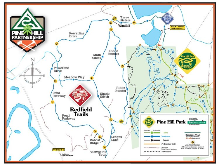 Click image to download a printable Redfield Trails map (1.1mb, PDF)