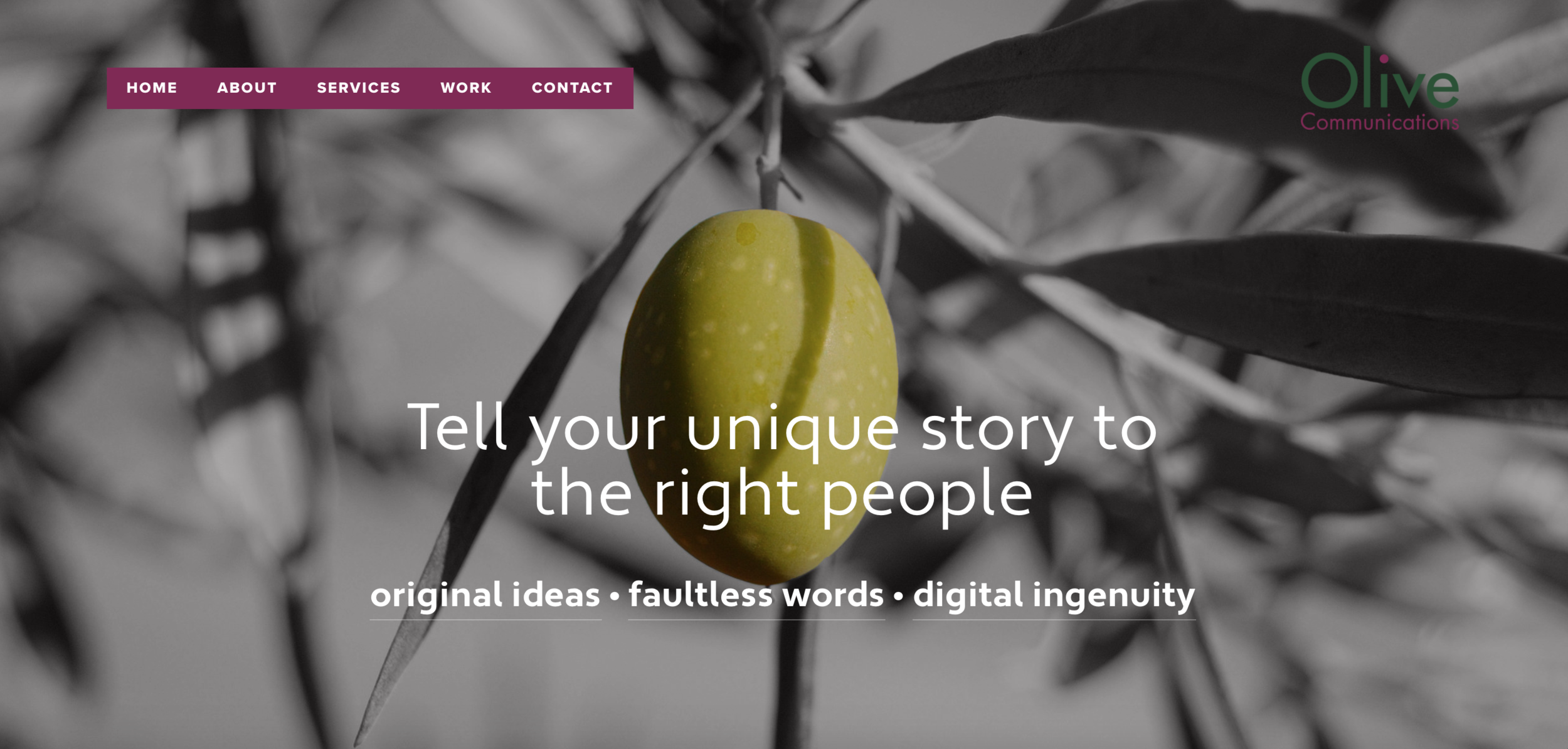 Olive Communicate - Brand new business, brand new website. Showcasing a portfolio of work and list of services.