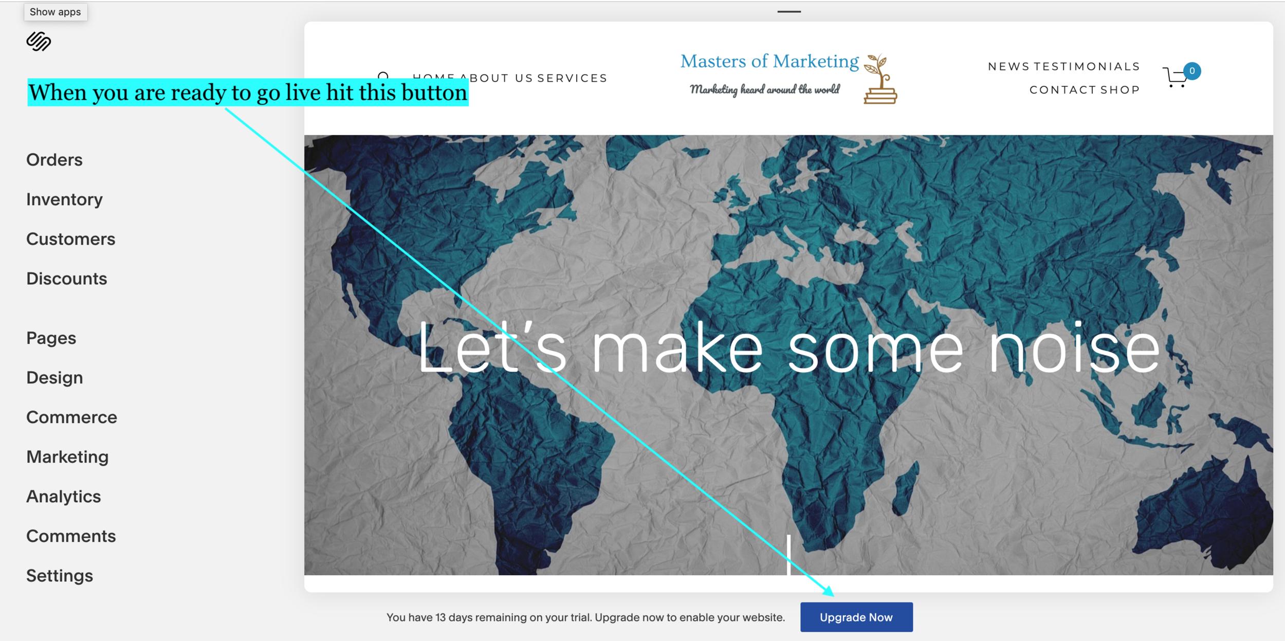 Publishing your SquareSpace website