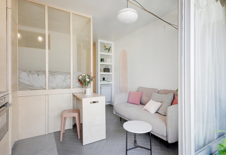 Espace nuit spécial petit espace avec lit en mezzanine et rangement en soubassement