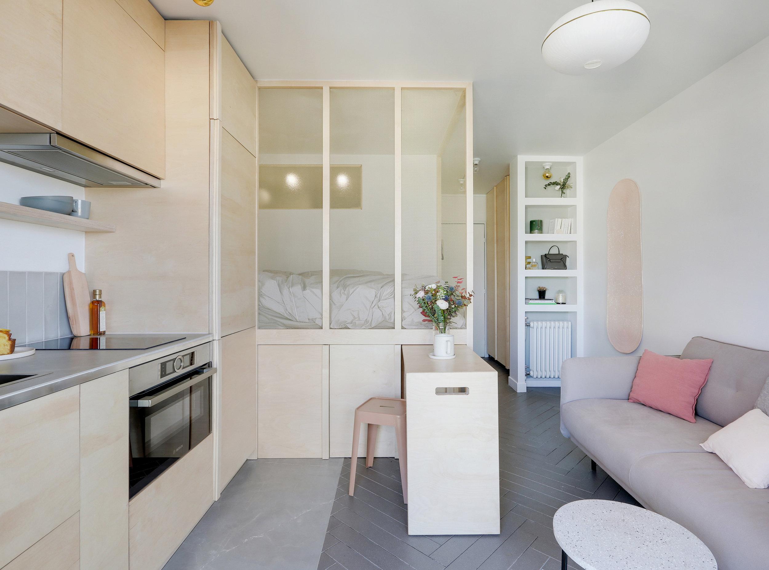 PARTICULIER  I Studio BeauFaire  Agencement sur-mesure d'un studio de 18 m2 à Paris