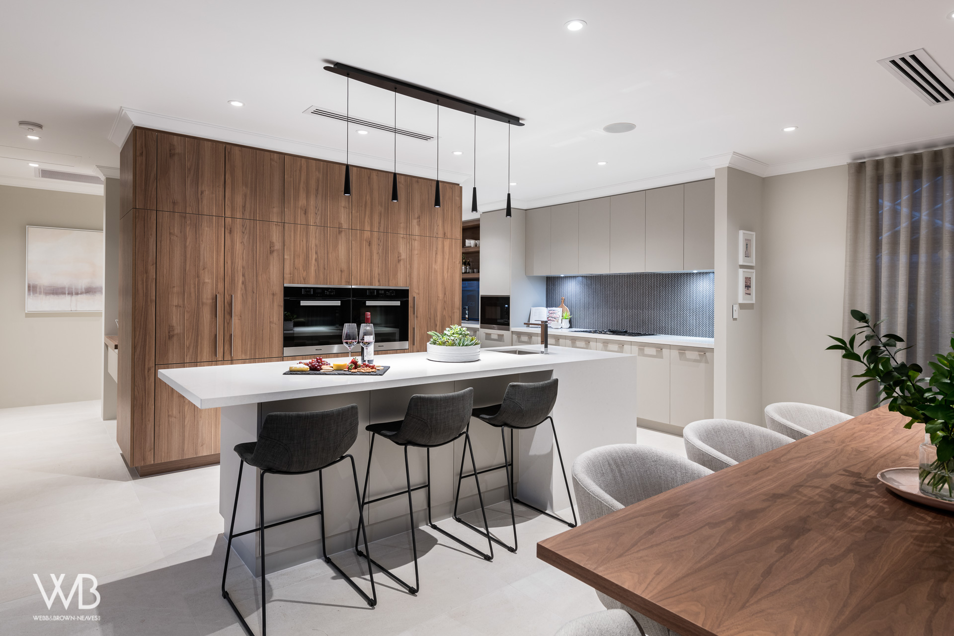 Kitchen designed by Jess O'Shea Designs for Webb and Brown-Neaves. Moda Display home. Made by The Maker Designer Kitchens. Dianella, Perth, Western Australia