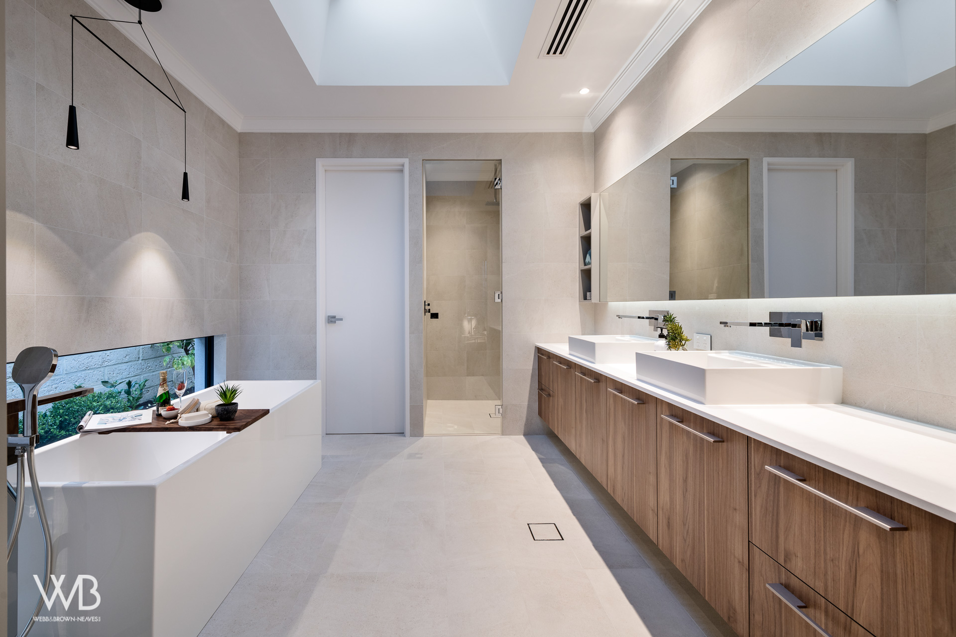 Bathroom designed by Jess O'Shea Designs for Webb and Brown-Neaves. Moda Display home. Made by The Maker Designer Kitchens. Dianella, Perth, Western Australia