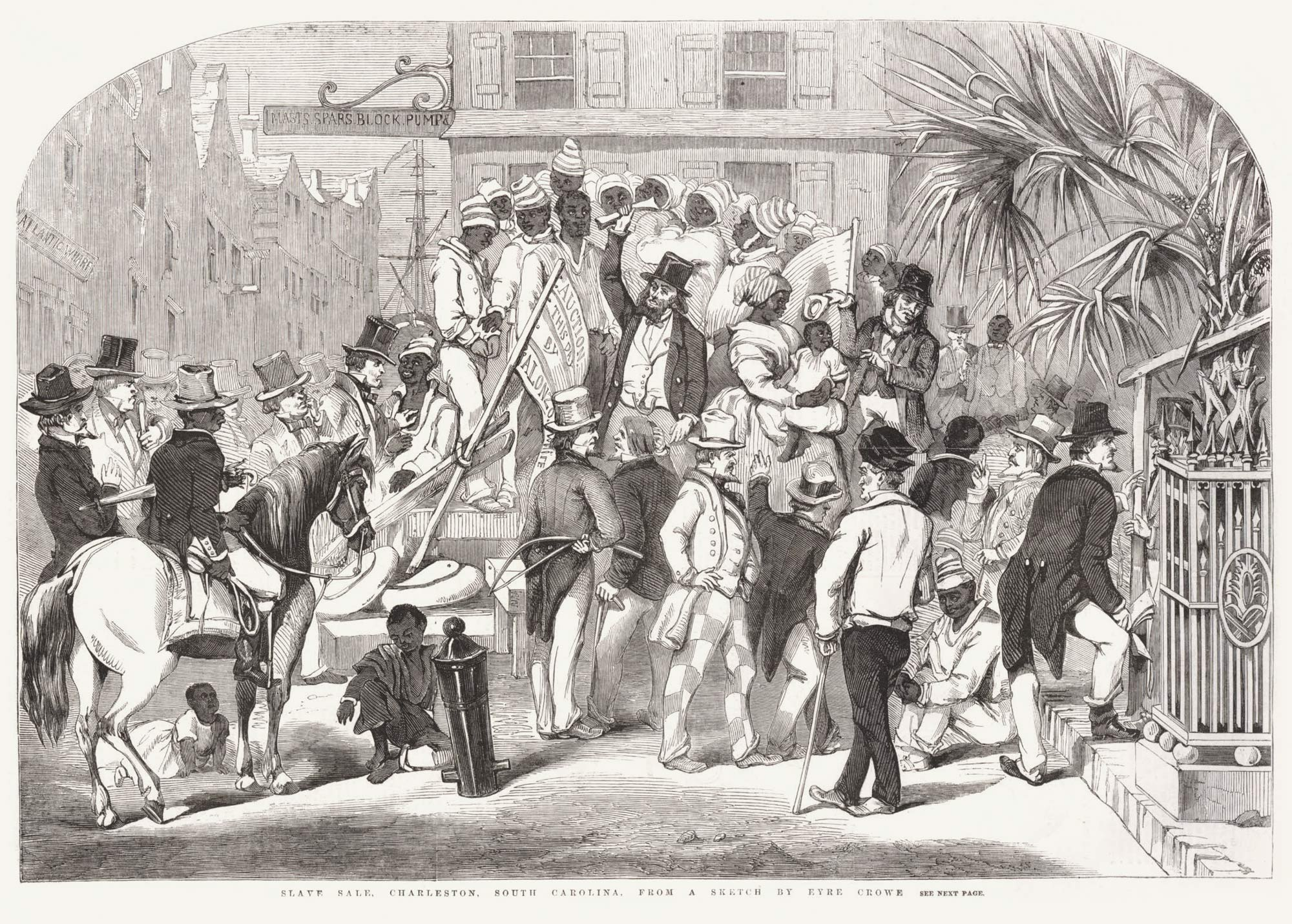 An engraving of a Charleston, S.C. slave sale, 1856.
