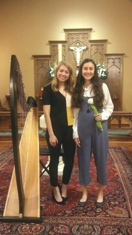 Stephanie with 8th grade harp student, Nora