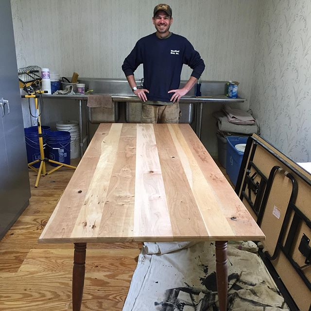 A beautiful farmhouse table built by member Jake Reagan using cherry and maple wood from the shop, and reclaimed table legs. Nice work Jake!  #realfurniture #builditbetter #cortlandwoodworks