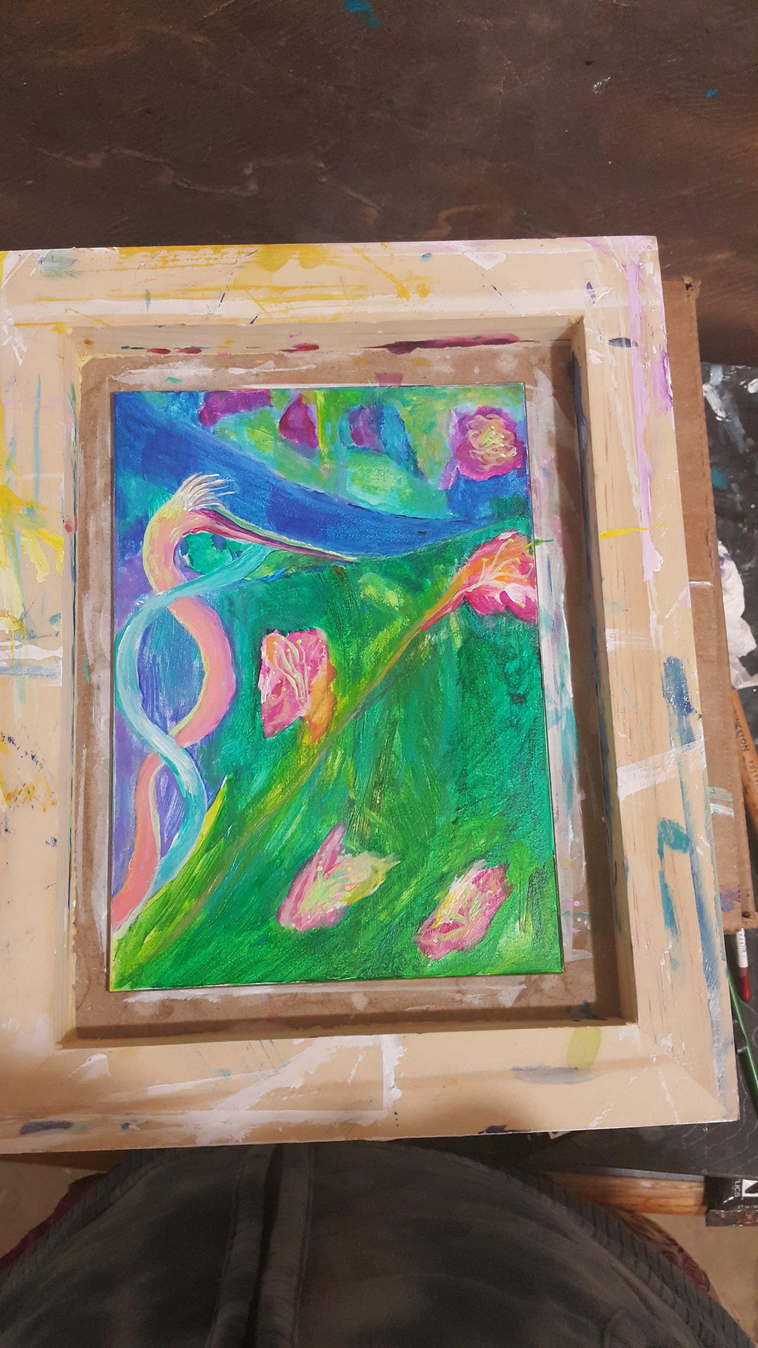 "Acrylic on Aquabord, 7""x5"""