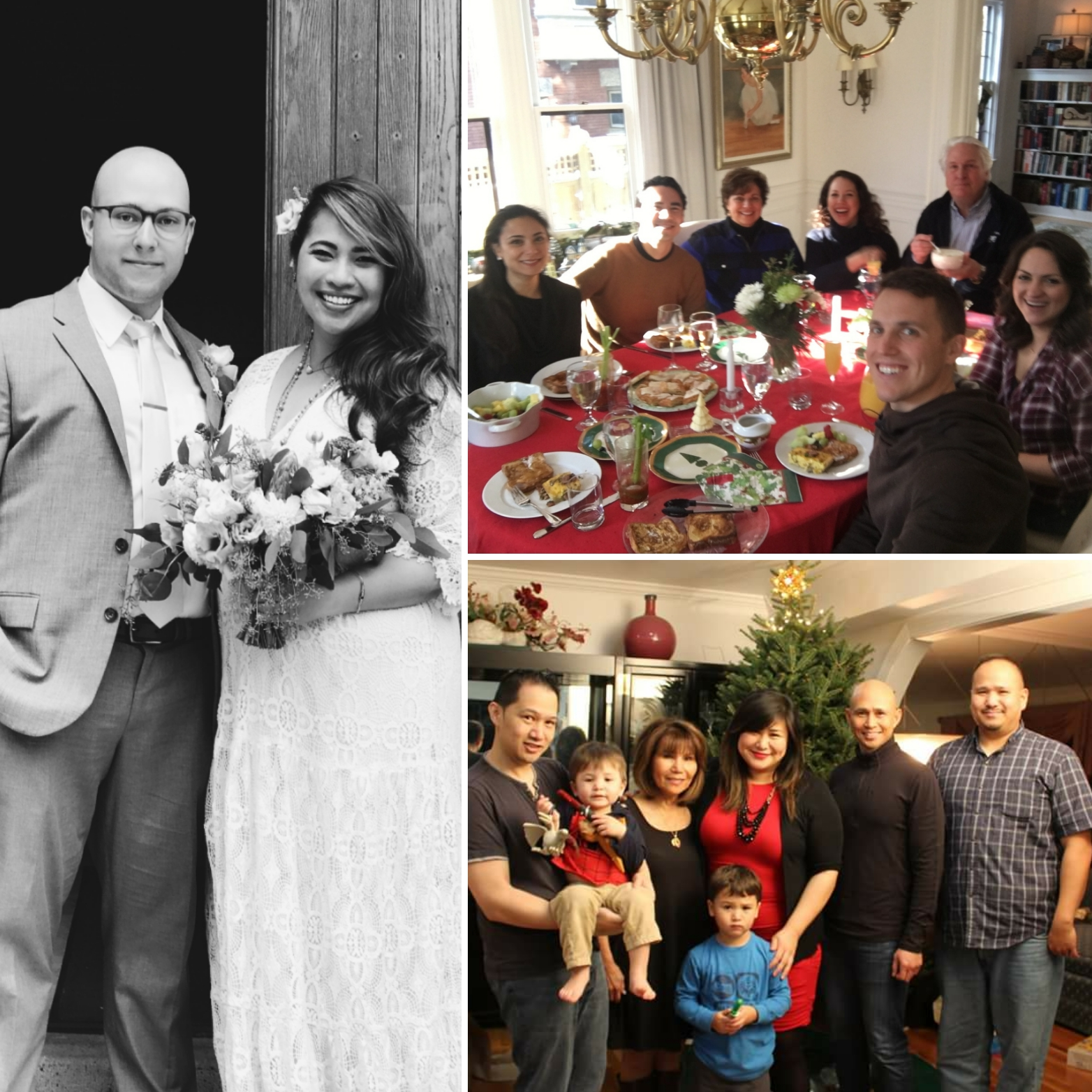 Clockwise  - Bianca and her husband Matt on their wedding day in July; Leila and her family during Christmas brunch this year; Trish and her family during their Noche Buena celebration.