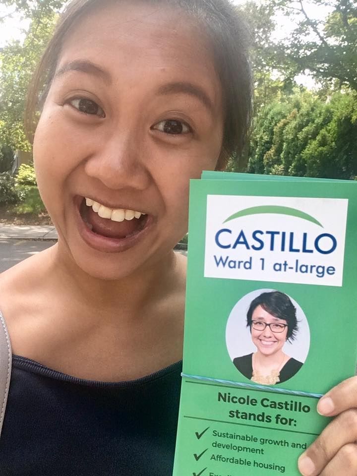 Picture provided by Helena Berbano / Helena knocking on doors for Newton City Council Candidate, Nicole Castillo