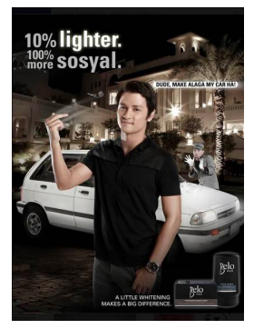 "Skin whitening ad suggesting lighter skin makes one more ""sosyal"" (slang term for upper class) © Belo"