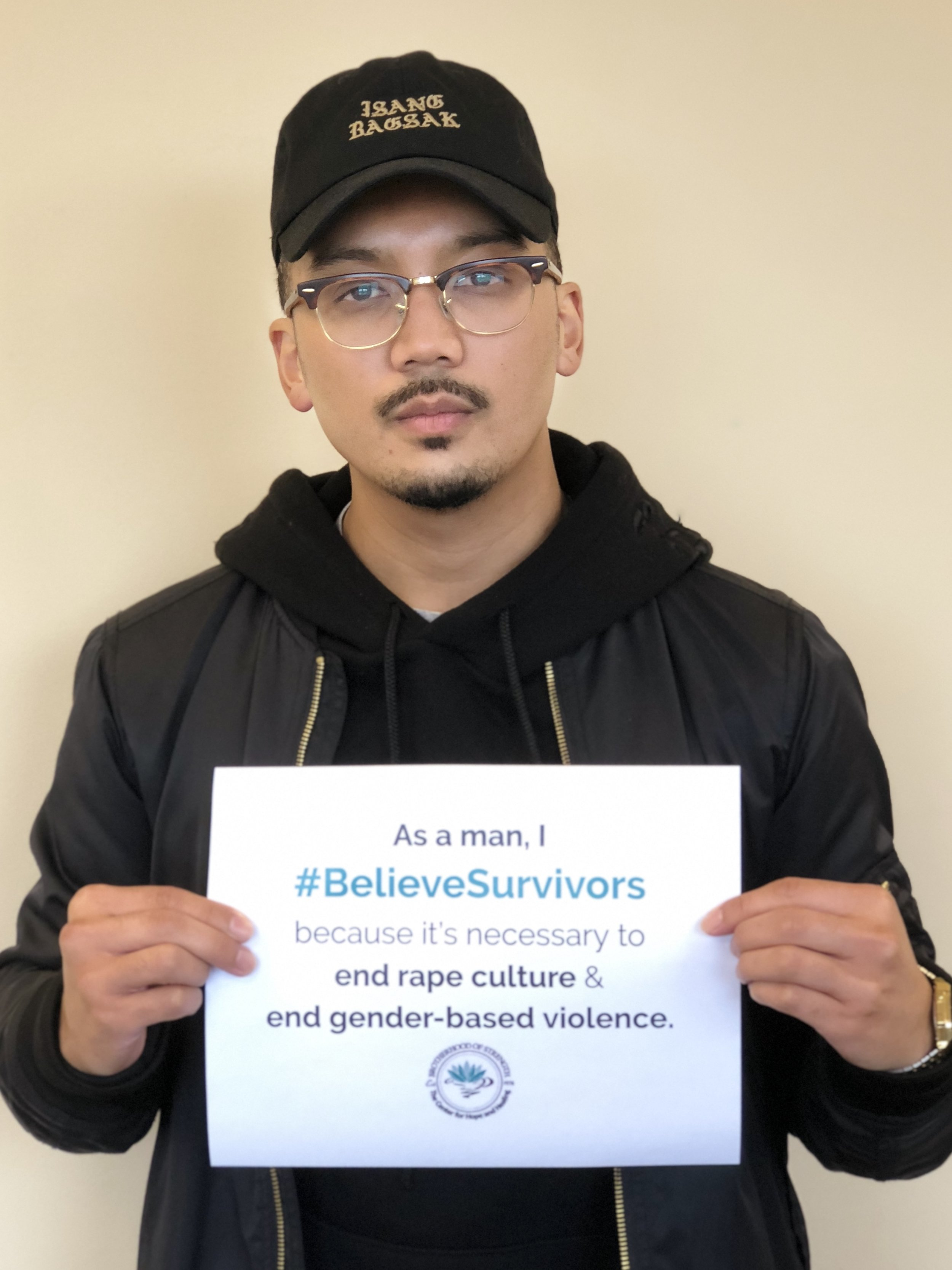Brotherhood of Strength members (as part of The Center for Hope and Healing) to support #BelieveSurvivors campaign / Provided by Nick Pelonia