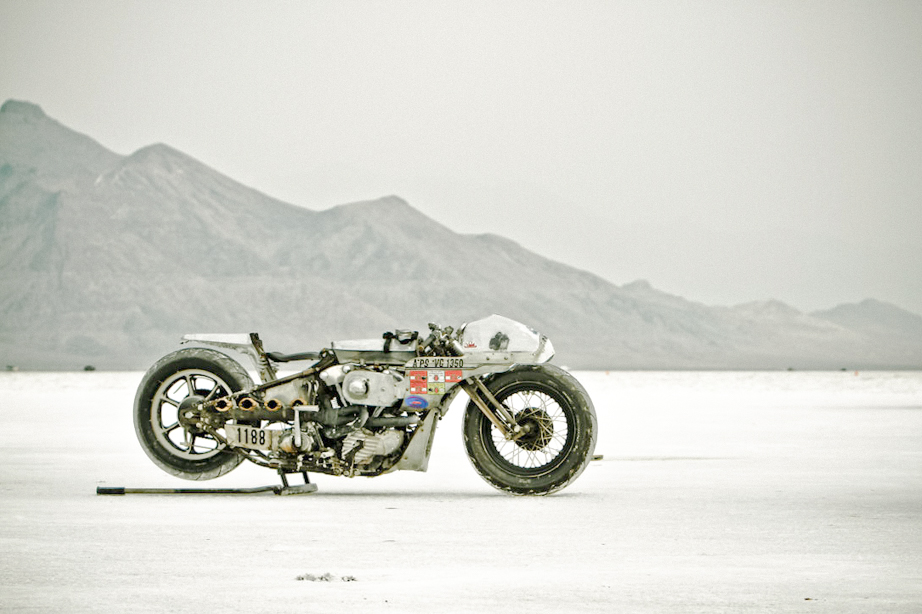 Shinya Kimura's custom motorcycle at Bonneville Salt Flats.