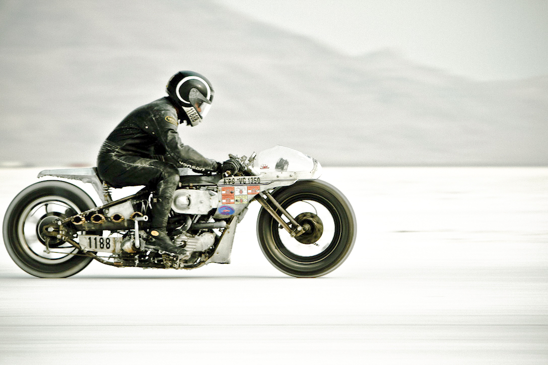 Shinya Kimura riding a custom motorcycle at Bonneville Salt Flats.