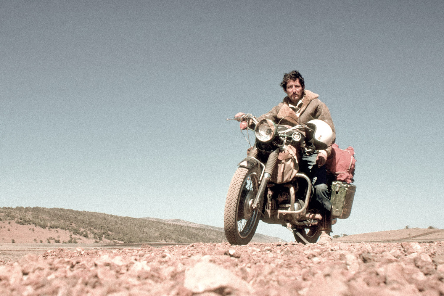 Ted Simon on his Triumph Motorcycle