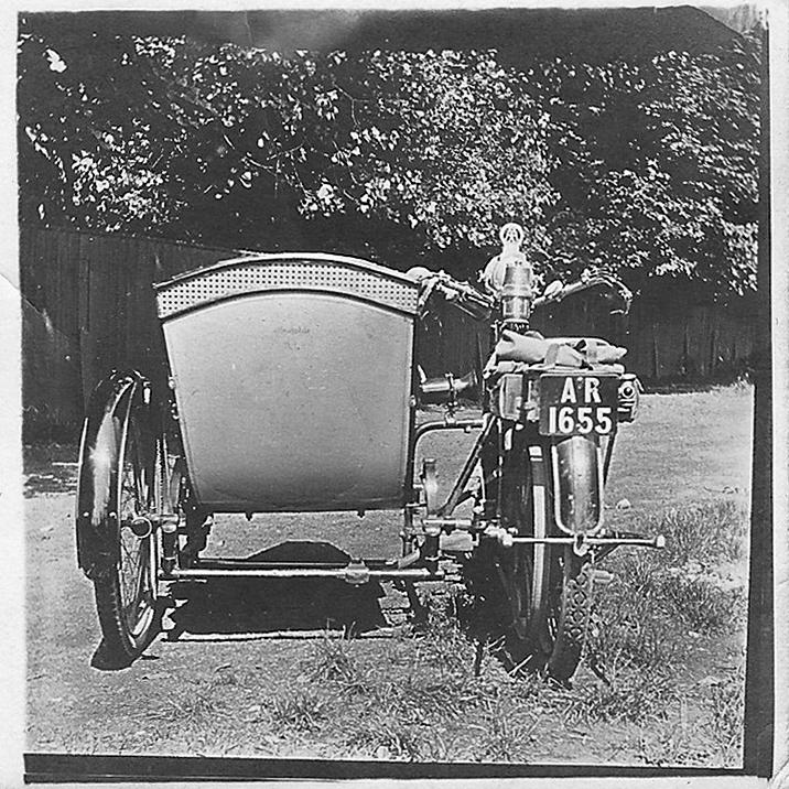 Image of Fred Watson, Ashley Watson's Great Grandfather, 1910 Triumph Motorcycle.