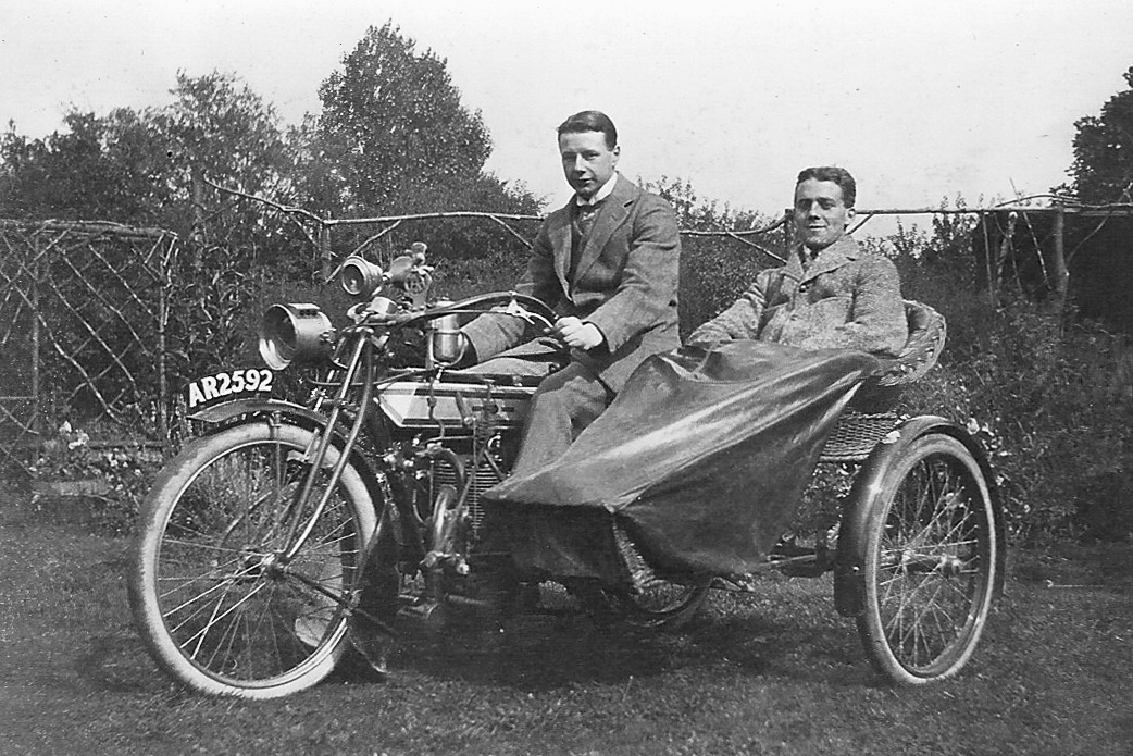 Image of Fred Watson, Ashley Watson's Great Grandfather, on his 1911 Triumph Motorcycle.