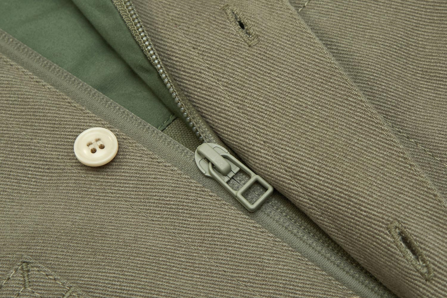 Heavyweight cotton shell sealed with Aquagard zip. Stops wind entering at the front.