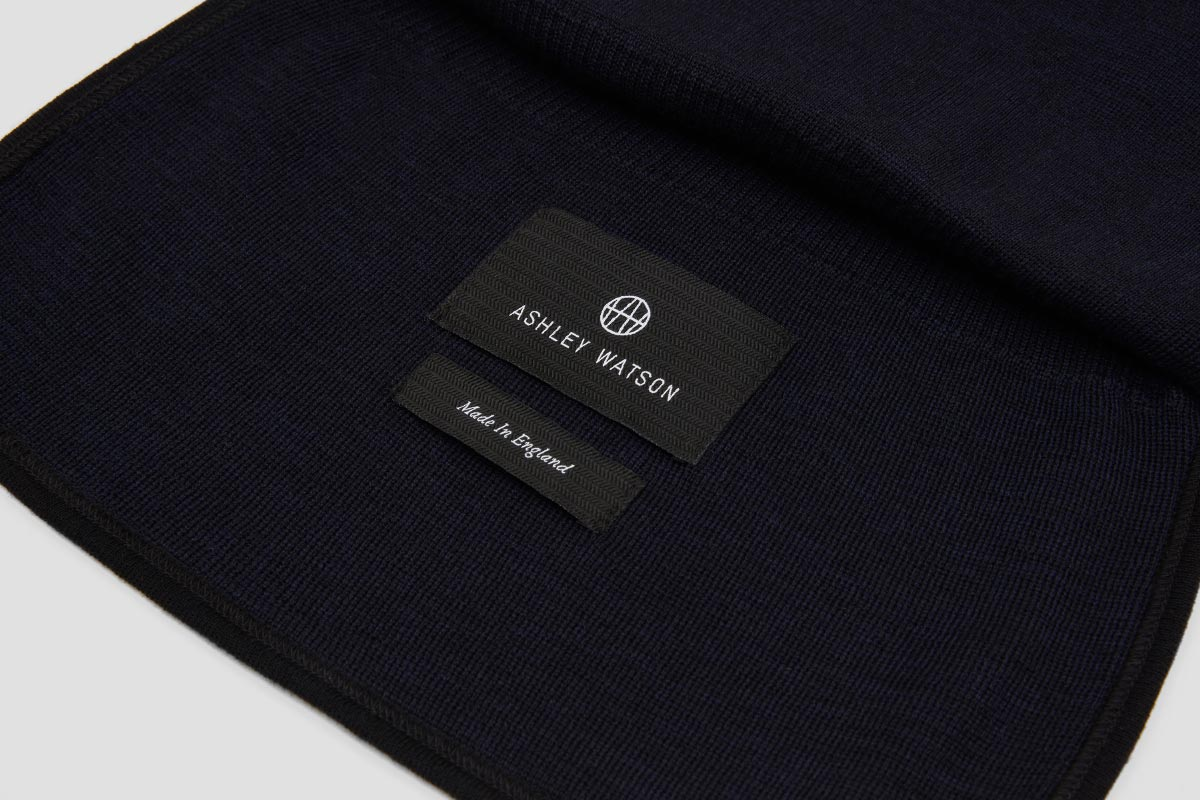 Bound edges. 100% Merino. Made In England.