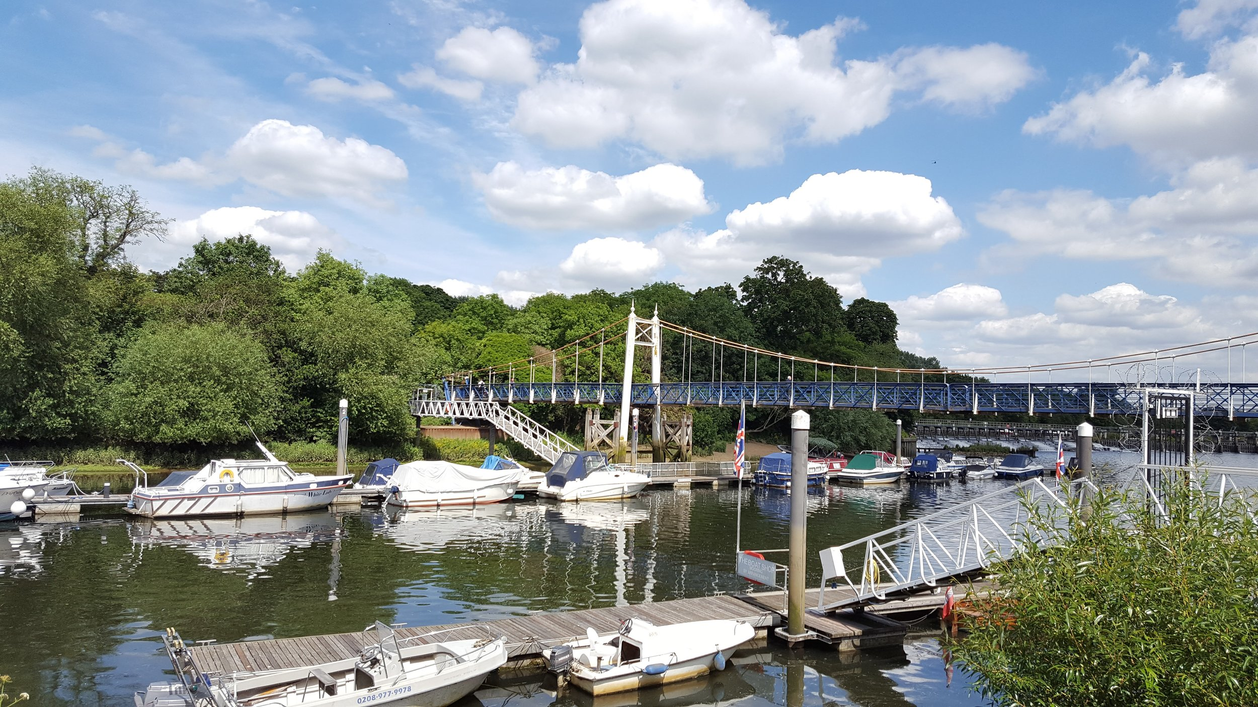 View of Teddington Lock Bridge from the Flying Cloud cafe terrace