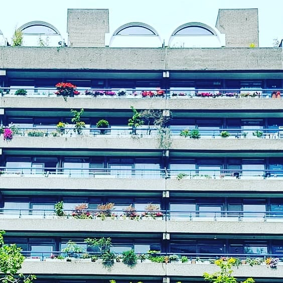 Barbican Centre, London ....summer flowers soften the #brutalist design
