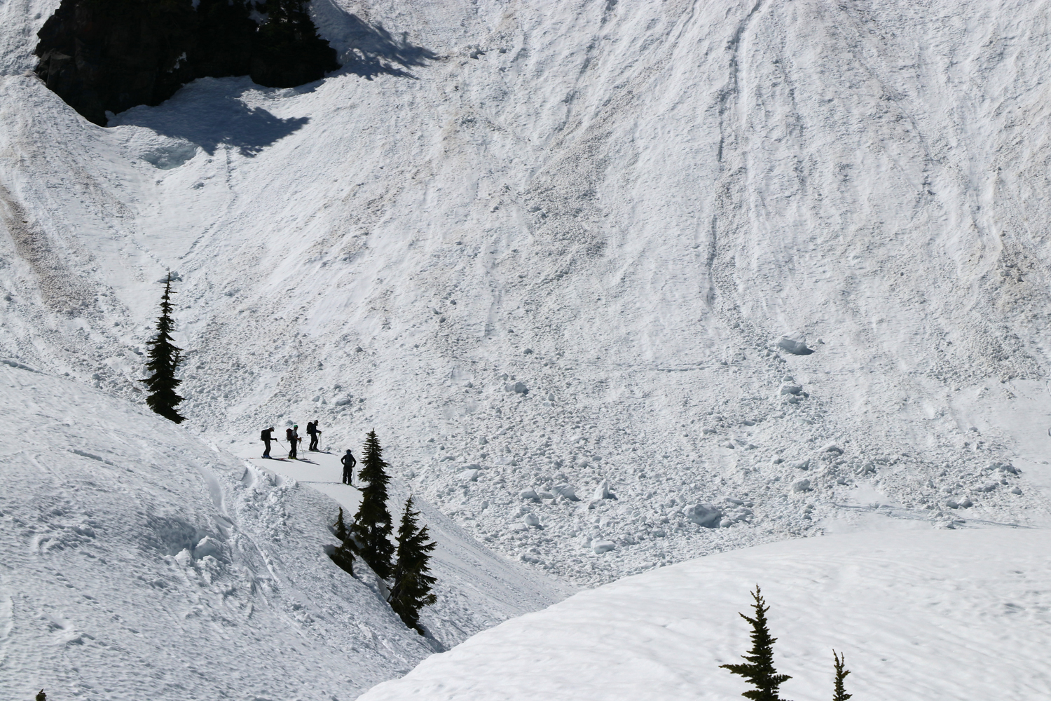 Alpental Pro Patrol checking spring avalanche conditions.