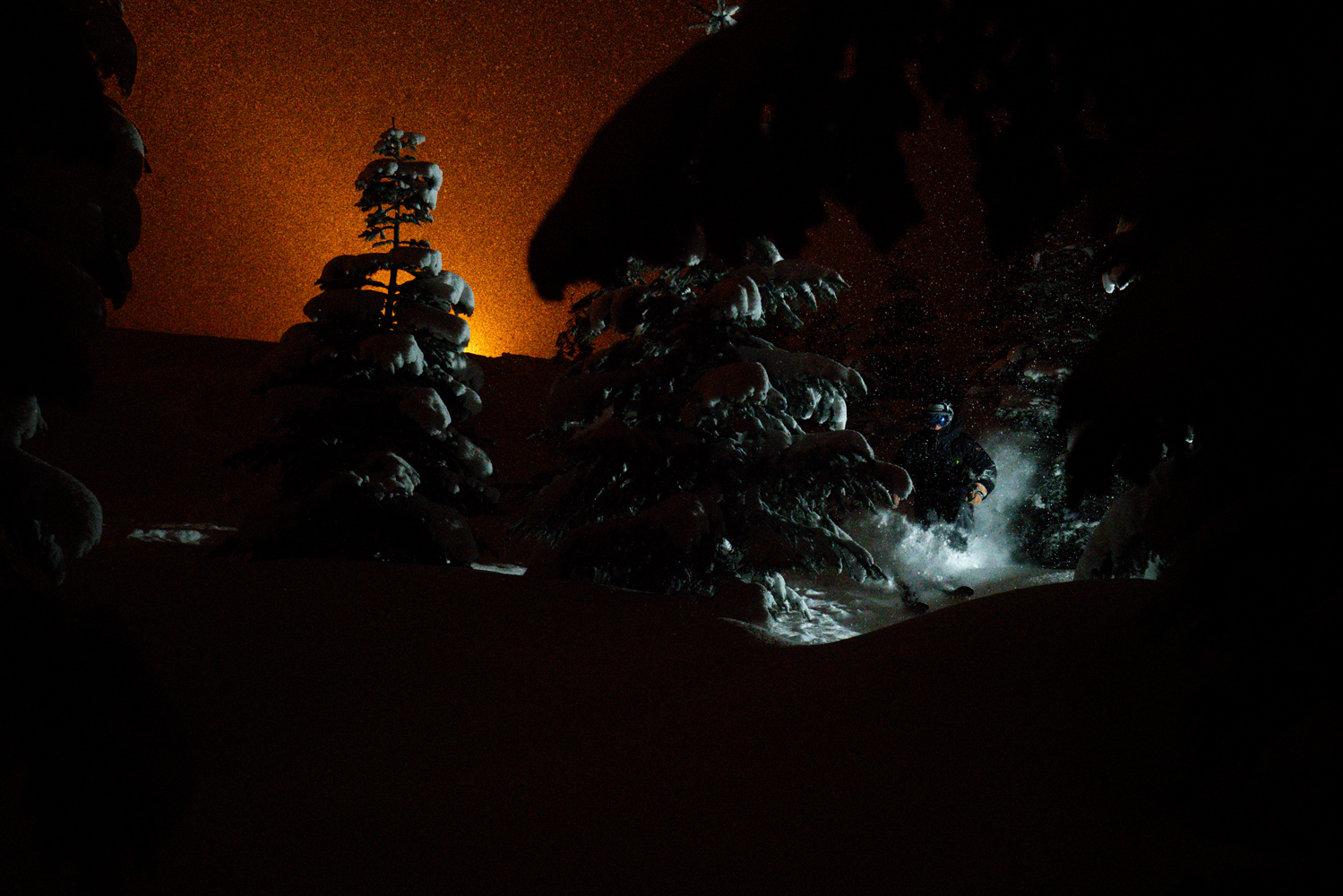 Remote flash as I cut through the trees at Summit West. Photo by Riley Seebeck