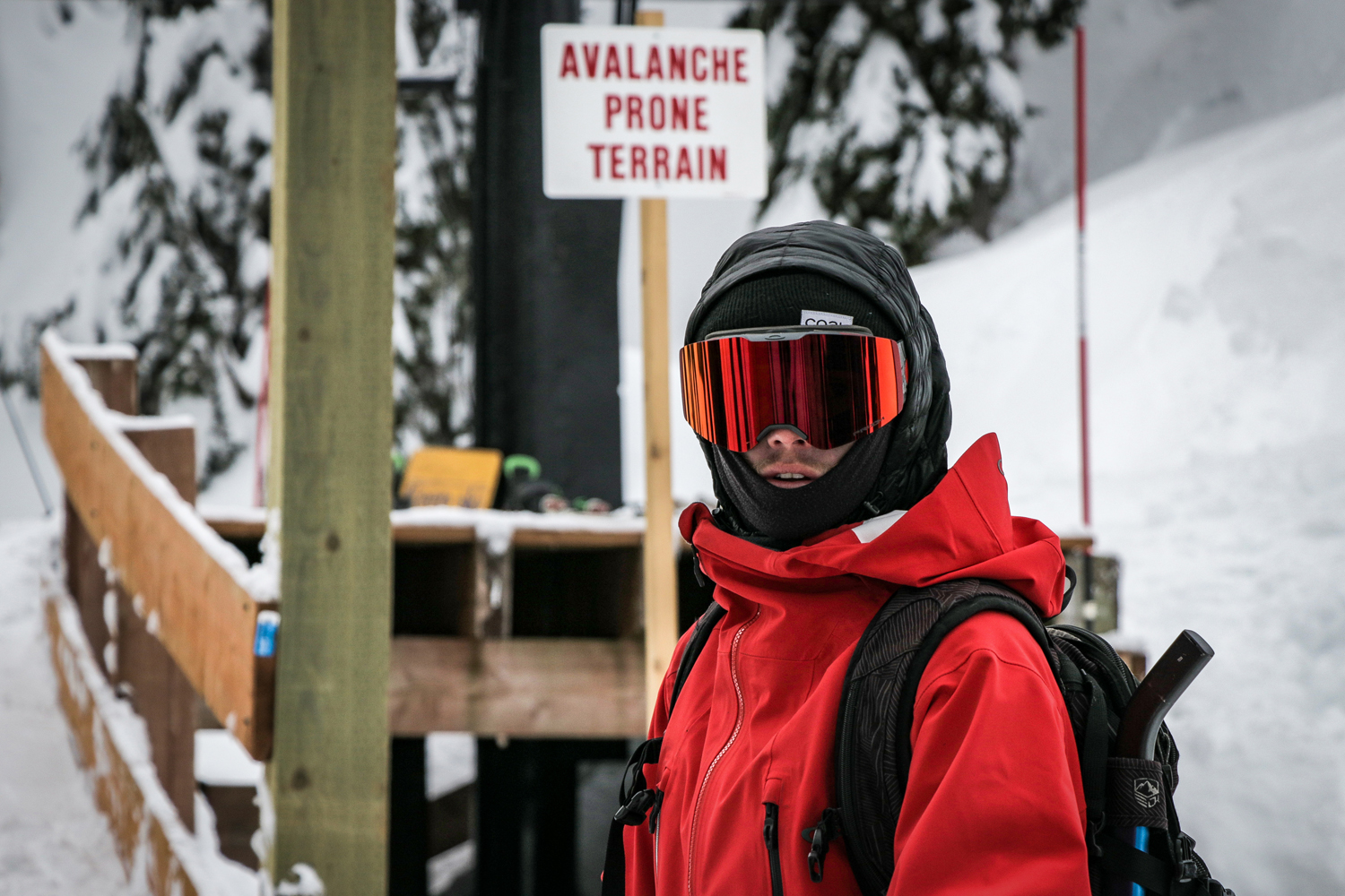 Corey Nugent waiting in line to ride up Chair 2 at Alpental.