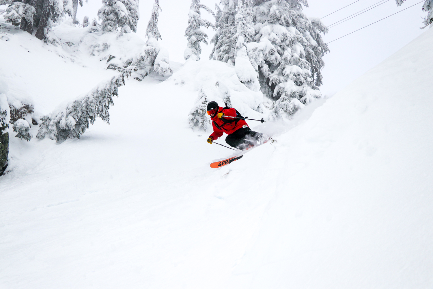 Corey Nugent charging down Schluct at Alpental.