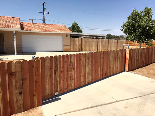 WOOD FENCE - A wood fence is a sturdy, classic choice to add privacy and value to your home or business. We are pleased to offer our customers a variety of wood fencing options. We strongly recommend the use of high strength galvanized steel posts when installing wood fencing here in the High Desert with the extreme wind conditions.