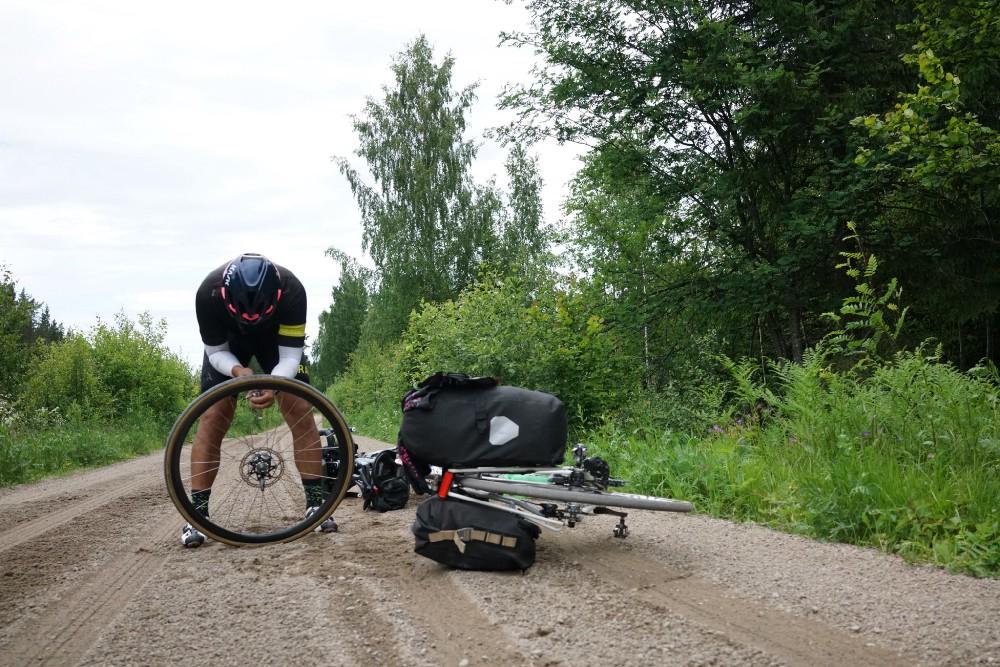"Fixing flats on a Swedish ""highway"""