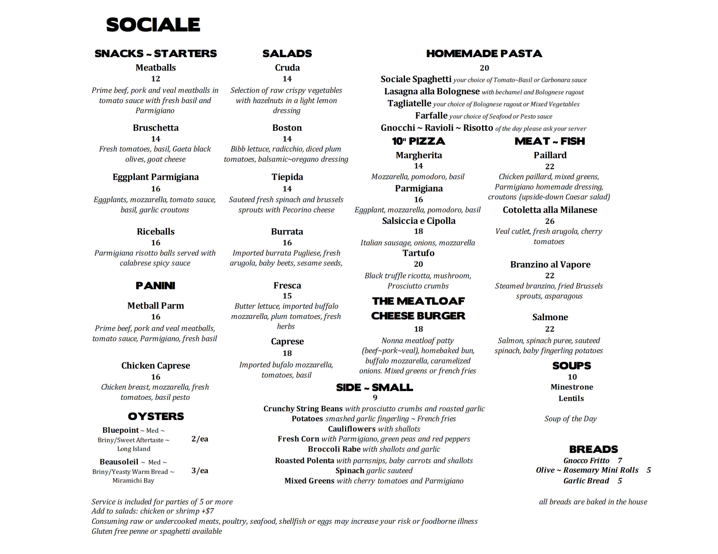 SOCIALE lunch menu
