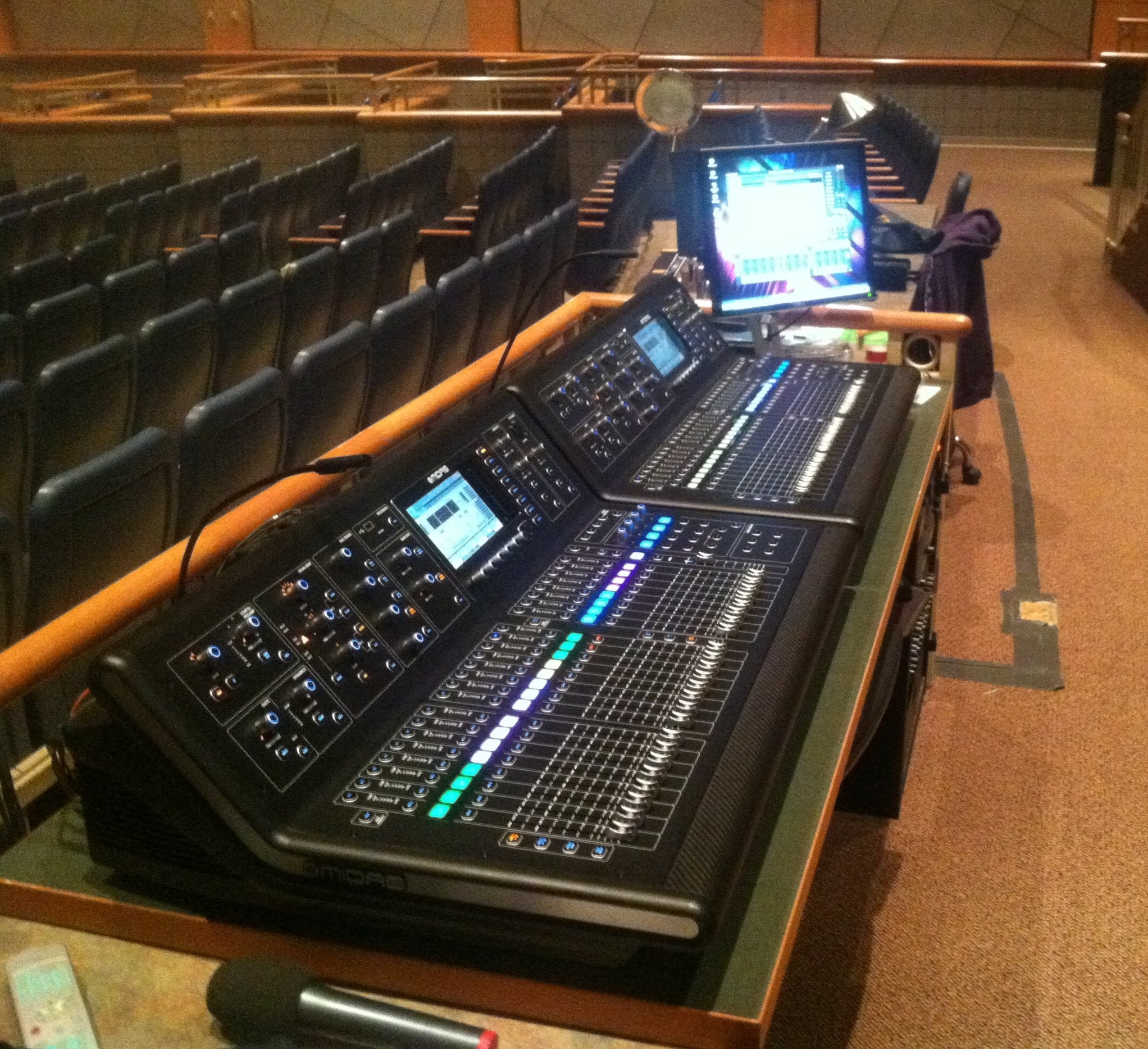 Medina Performing Arts Center FOH with two Midas M32 consoles