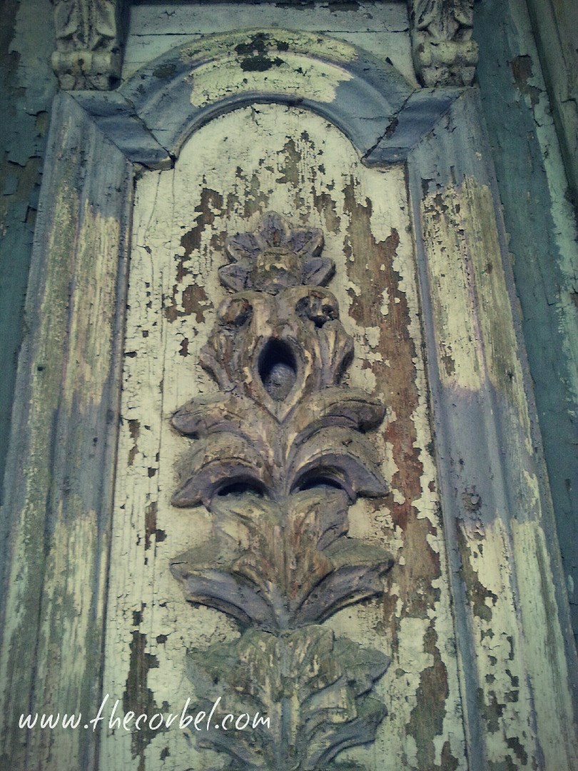 antique carved painted door