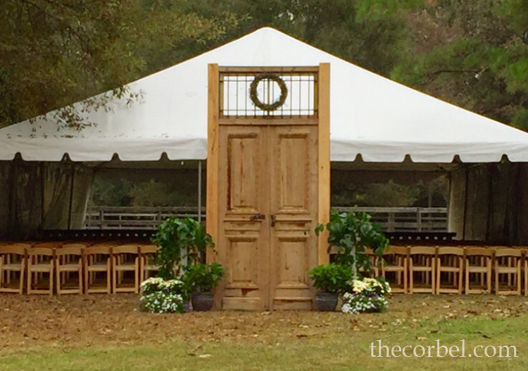 antique doors wedding ceremony
