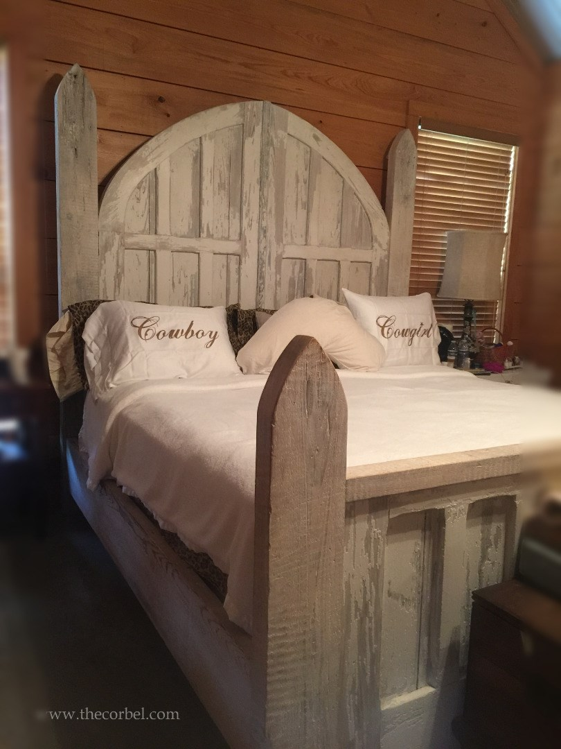 custom antique door bed greywash