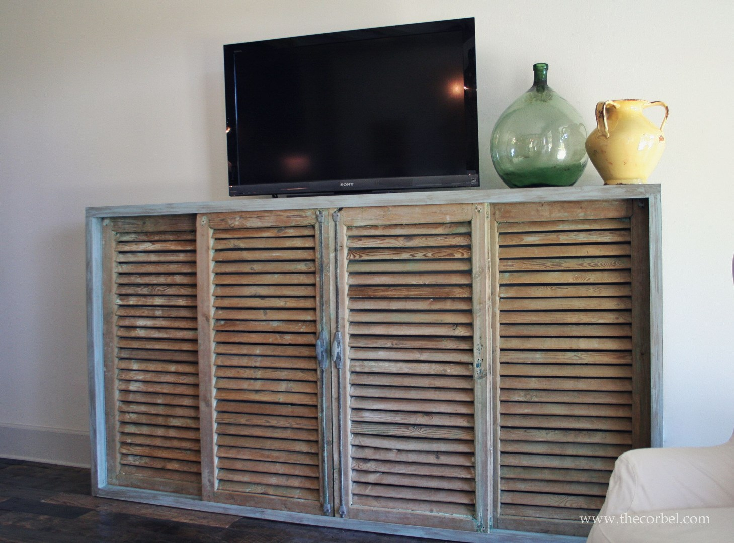 reclaimed shutters custom cabinet