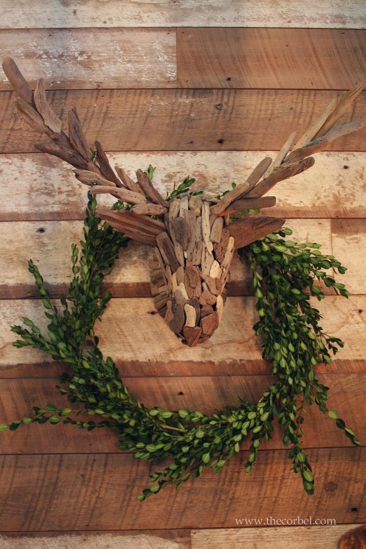 driftwood moose boxwood wreath