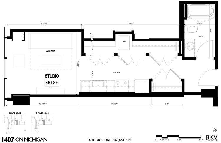 Studio 16 Floor Plan 1407 On Michigan