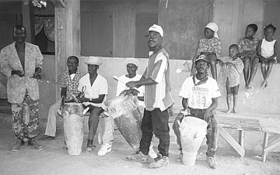 Souvenance Rada drums (Tanbou Dawòmen) along with Master Drummers from Lakou Souvenance including Alfred, George, Vernisio, and Pierre - drums (left to right) Ogan (iron bell), Gwònde; Manman (or Ountò); Katabou.