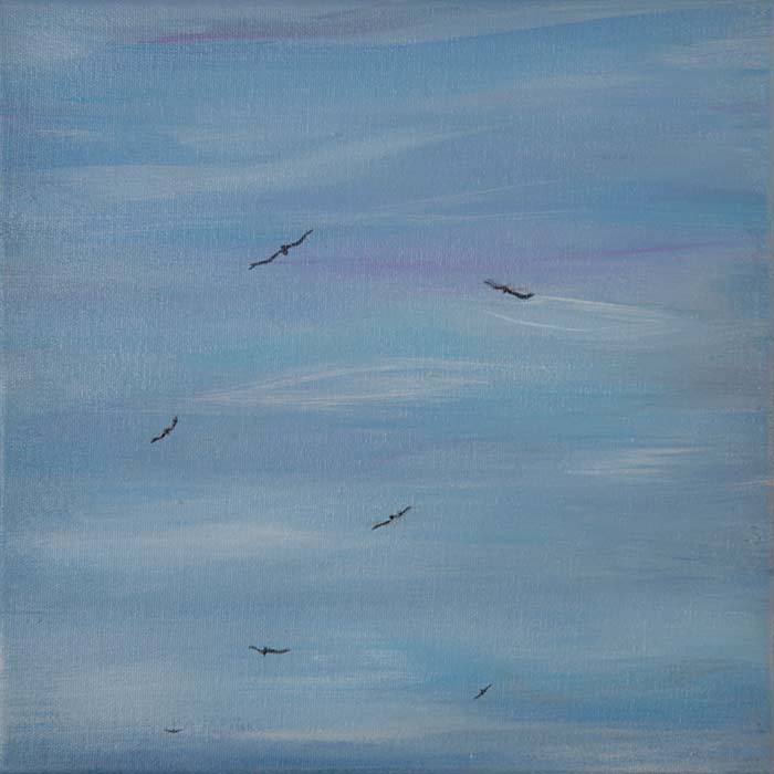Buzzards Riding Wind Currents 12x12