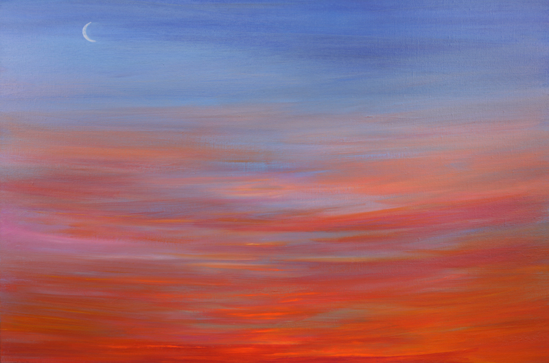 Moon Rising Sun Setting 23x36