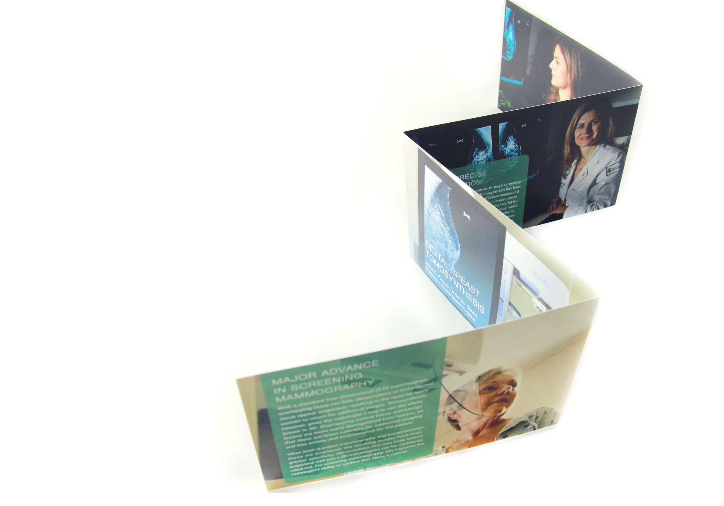 Solution - The multiple folds, clear envelope and positioning of the images brings the capability of the machine and the radiology department at Rhode Island Hospital to life.