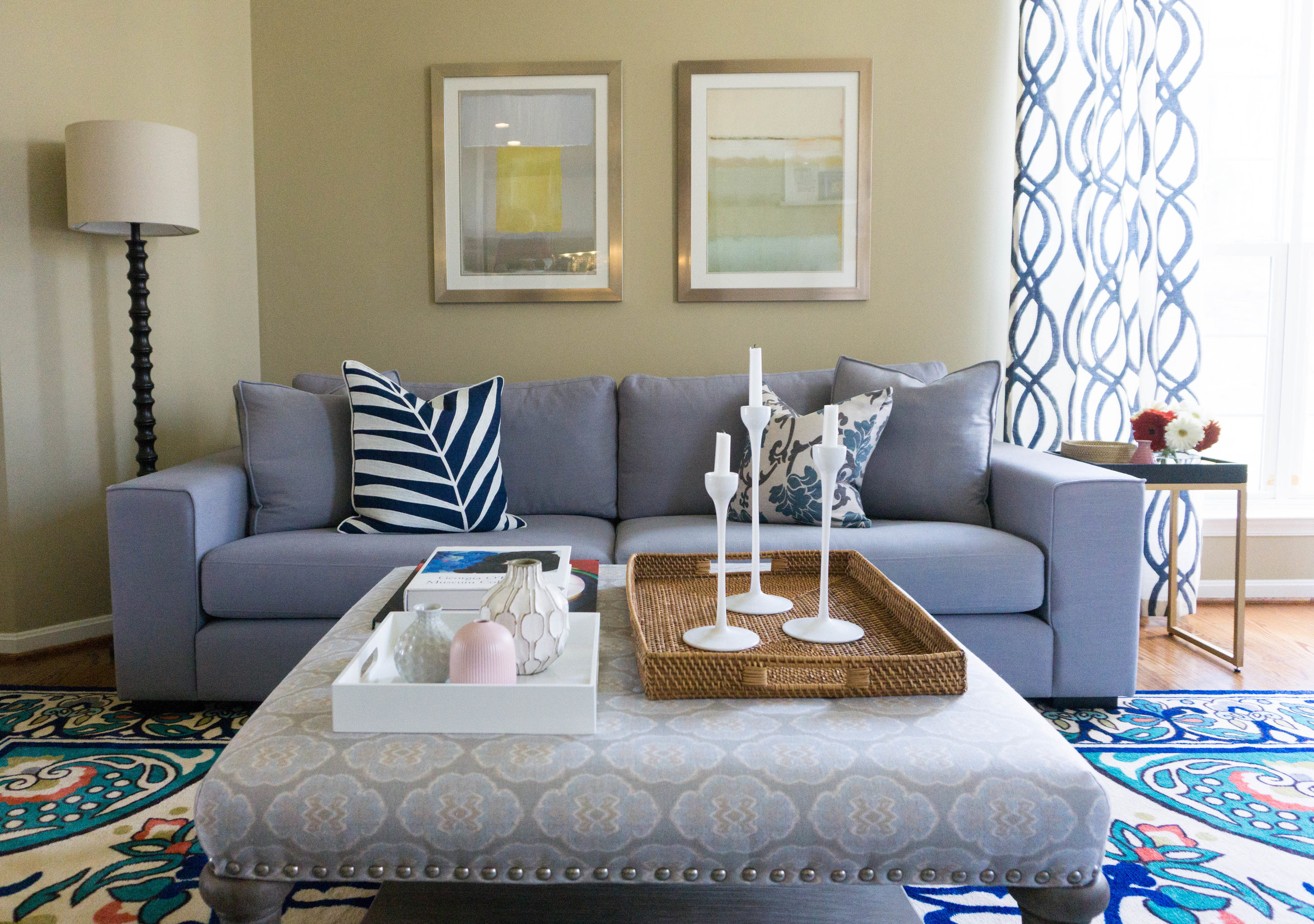 A blue couch was a must for Jen and we based the design around that concept.