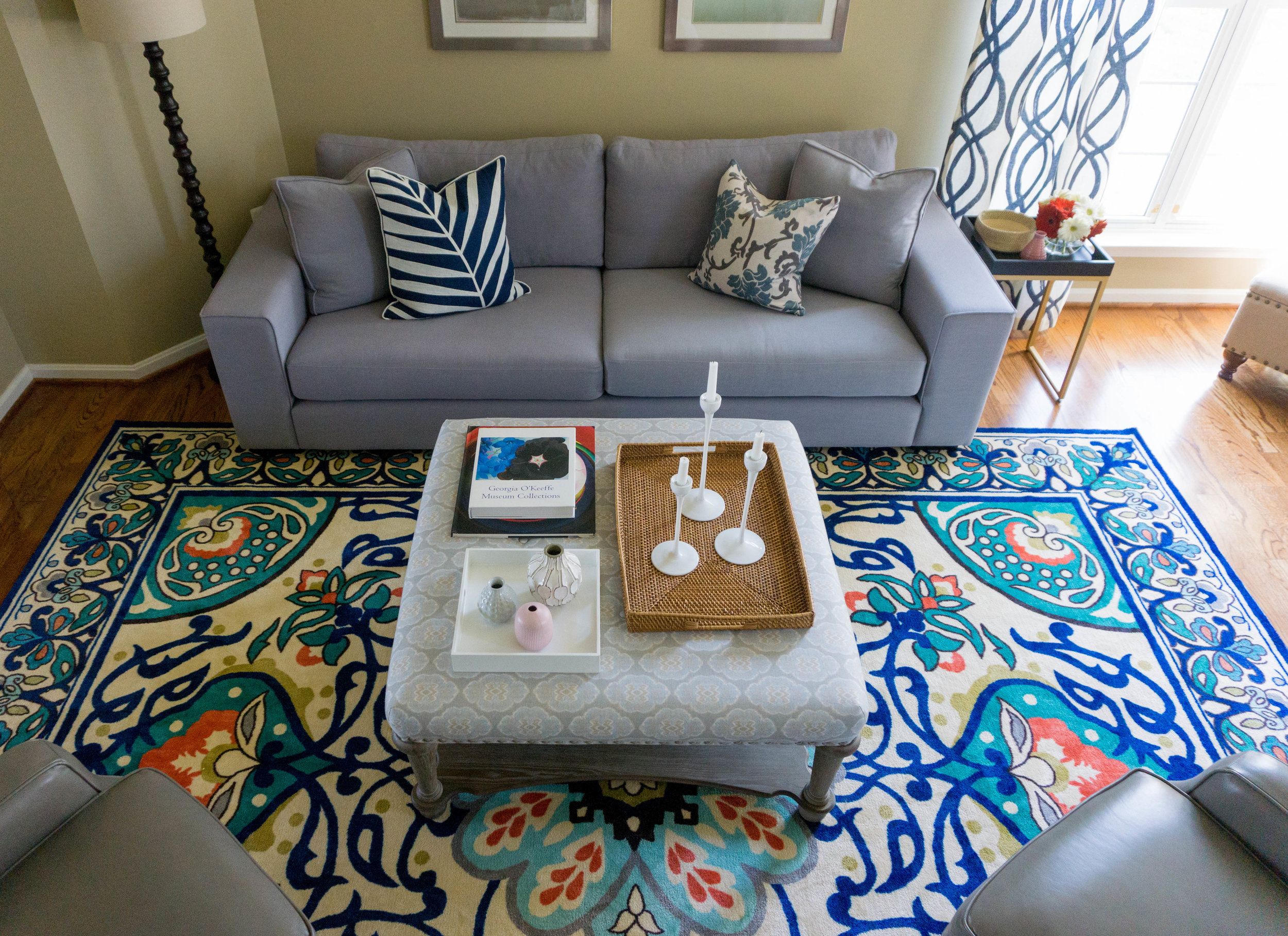 My client was not afraid of a bold, statement rug paired with a variety of patterns and textures.