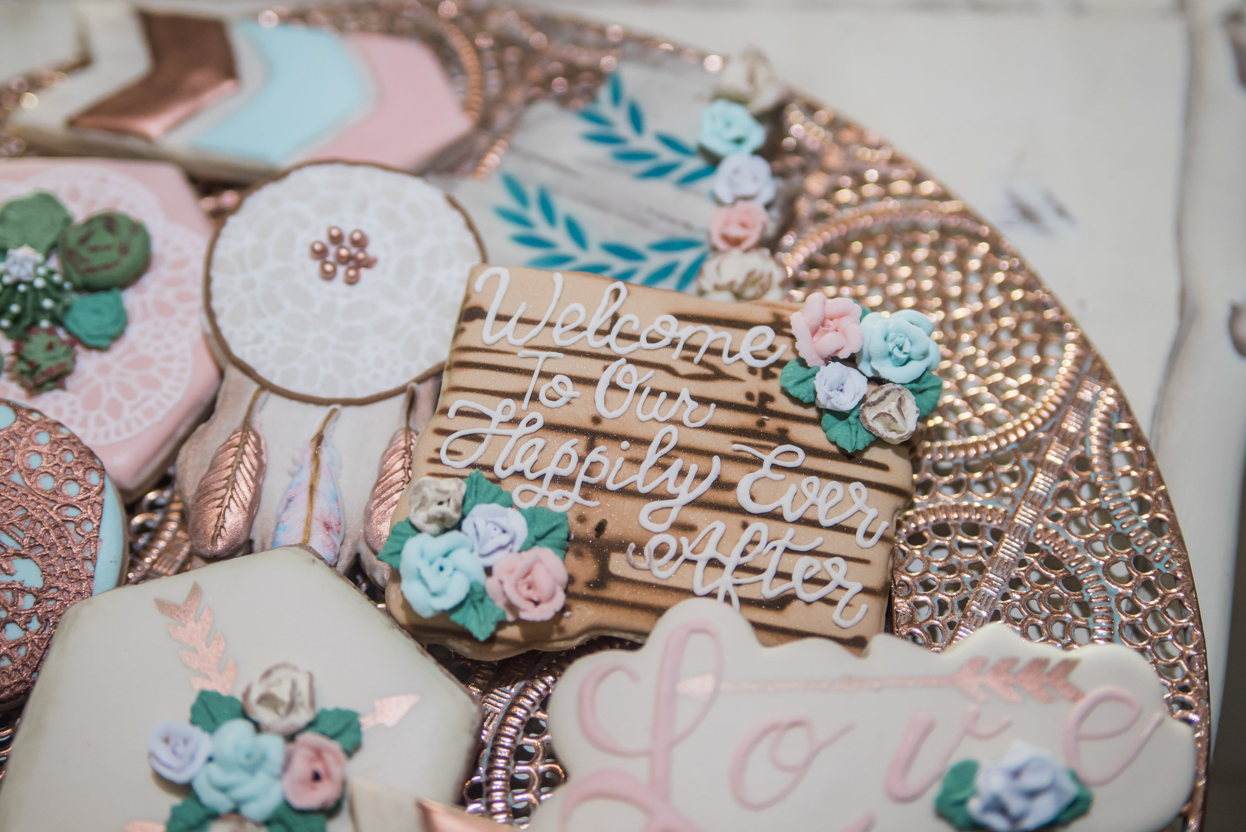 Have you seen more stunning cookies? Laurel of Kiss Me Cookies creates the most beautiful and decadent cookies around. You can tell she puts all her heart into her creations and they truly are works of art.